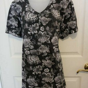 Woman Within Pullover Tunic Top Cotton Black